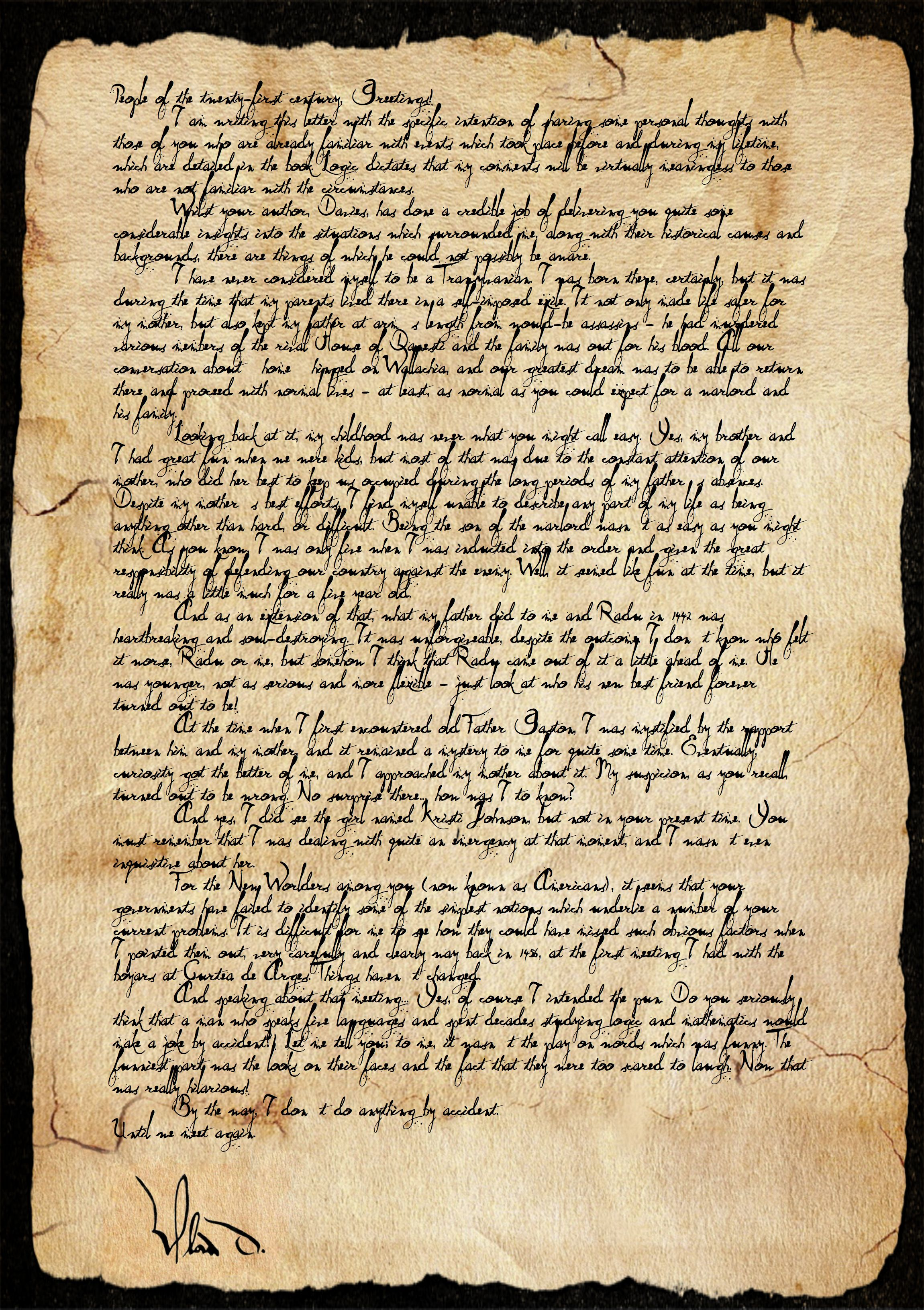 The First Vampire Personal Letter From Dracula